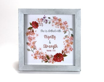 Proverbs 31:25 Bible Verse - Cubicle Frame/Office Print/Cubicle Decor/Home Decor