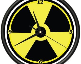Radioactive Wall Clock Symbol Toxic Waste Radiation