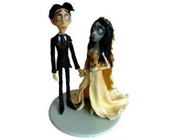 Corpse Bride Cake Topper / Custom Handmade Wedding Cake Topper