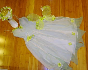 Flower fairy princess pale green dress wings womens siz 8 Halloween Costume cosplay fantasy flower nymph ready to ship unique