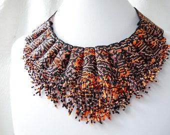Loom or 1 Drop Even Peyote Bead Pattern - Tiger Mutation Cuff Bracelet