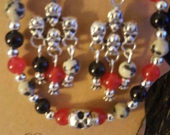 Fun!!  Skull bracelet & earrings