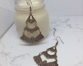 Boho Witchy Charm Earrings in Bronze