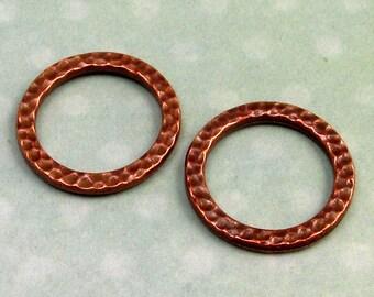 Large Round Link, Antique Copper, TierraCast Hammertone, 2-Pc. TC23