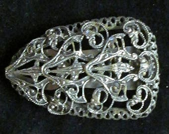 Vintage Art Deco Silver Plated Filigree Dress or Scarf Clip