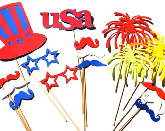 Patriotic Photo Booth Props - 16 piece prop set - Birthdays, Weddings, Parties - Red, White, and Blue Photobooth Props