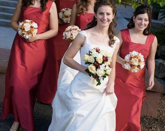 Fall Wedding Bouquet in Pink, Goldenrod, and Cream for Bridesmaids, Silk Wedding Bouquets