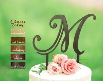Letter m cake topper, initial cake topper, letter cake toppers for wedding, monogram wedding cake topper wood, m letter cake topper, CT#072