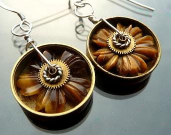 Daisy Wheel steampunk earrings gears antique watch parts gold and silver hubcaps turbine brown tigereye OOAK jewelry