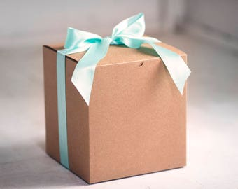 Set of 2 - 8x8x8.5 in Kraft Gift Boxes - Balloon announcements, be my bridesmaid, Gender Reveal