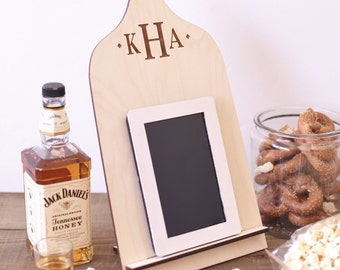 Personalized Wood Cutting Board iPad Stand Kindle, Nook, Tablet Holder Docking Station Tech Gift Christmas Present Gift For Him Under 20