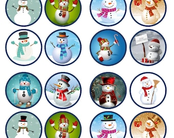 Christmas Snowman Mix Edible Wafer Rice Paper Cake Cupcake Toppers x 24 PRECUT