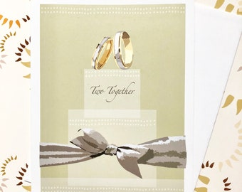 Wedding Greeting Card with Rings and Cake