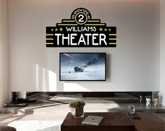 Home Theater Decor, Home Theater, Movie Theater Decor, Home Theater Decor, Personalized Theater Decal - WD0209