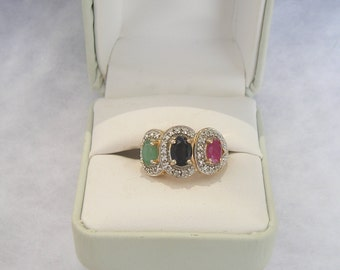 lovely Ross Simons Gold over Sterling Ruby Sapphire Emerald Diamond Accent Ring