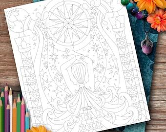 "Aquarius Tarot ""The Star"" Colouring Page"