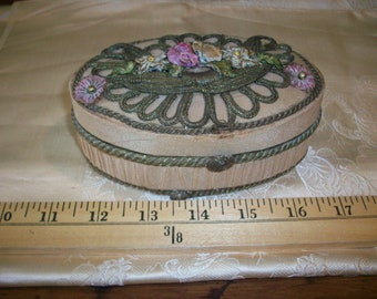 Rare ribbon work/metal box  antique