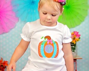 Monogram Pumpkin Shirt - Girl Thanksgiving, Thanksgiving Dress, Pumpkin Dress, Thanksgiving Shirt, Monogram Shirt, Coordinating Sibling, M2M