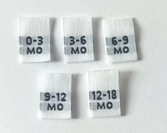 Mixed Multi Infant Woven Clothing Size Tags Labels 0-3mo, 3-6mo, 6-9mo, 9-12mo, 12-18mo Qty 100