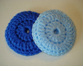 Too Cute Blue Pot Scrubbies, Double Thick Crocheted Pot Scrubbers