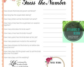 Bridal Shower Game | Guess the Number