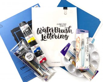 DIY Water Brush Lettering Kit with Jump Start Guide