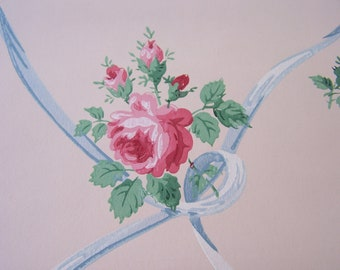 Vintage Wallpaper c1940s Pink ROSES w French Blue Ribbons Shabby Cottage Decor Art Tags Scrapbooking Romantic Home 1 YD