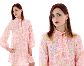 60s Mod Dress Pink Pasiley Psychedelic Abstract Tie Scarf Puffy Sleeves 1960s 70s Mini A-line Tent Retro Medium Small S M