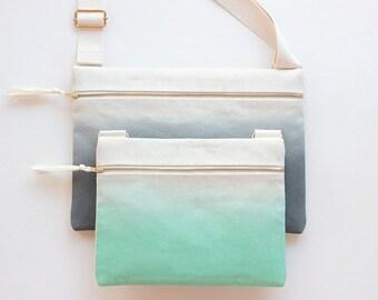 Ombre Unisex Crossbody bag / Hand-dyed Natural Denim Mini Messenger Bag / Satchel Bag / Handbag / Canvas Bags / green Bag