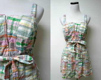 Orvis plaid pin up romper / bathing suit . size 10 . made in USA