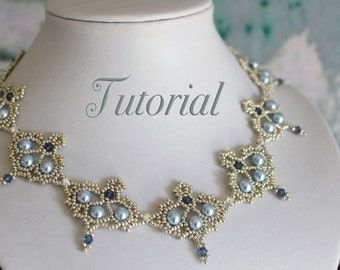 Beading tutorial 'Grace' - DIY beading pattern - beaded necklace with seedbeads, pearls and bicones