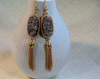 Golden Tasseled Druzy Earrings in Silver, 3.5 inches or 9 cm