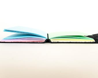 Leather Journal - Black - Rainbow - Leather Wrap - Handbound Blank Book - A6 - 6 x 4 - Italian Ivory Paper