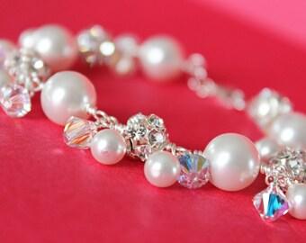 Cluster Wedding Bracelet, Rhinestones and White Swarovski Crystal Bridal Bracelet, Bridesmaids Bracelet