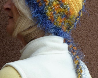 Yellow crochet ponytail hat with a tail, yellow and blue unique winter crochet hat, winter ski hat, gift for her, original women's hat