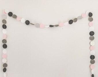 Felt & glitter circle garland in pale pink, white, grey, and silver.  Party garland.  Party banner.  Birthday garland.  Nursery garland.