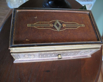 Art Nouveau, Fancy Storage Box, Upcycled, Repurposed, Carved, Painted, Ornate, Gold, Inlaid Look, Drawer, Black, Gold, Bronze