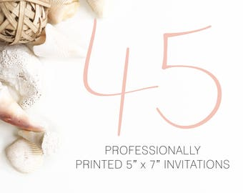 45 Professionally Printed Invitations White Envelopes Included And Free US Shipping, Printed Invitations