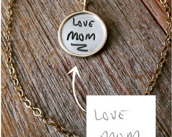Your Handwriting Necklace - custom engraved signature necklace - actual handwriting name charm - gold, silver