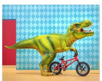 35% OFF SALE T. Rex dinosaur decor art print with Bmx: Shredder