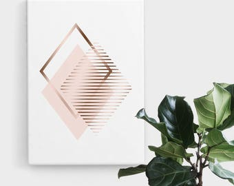 Blush Rose Gold Diamond Print, Print Art, Geometric Art, Abstract Art, Scandinavian Print, Minimalist Art, Digital Art, Printable Art