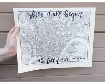 Vintage CITY LAYOUT Maps | Personalized Calligraphy Map | Hand Lettered Map | Original Map | handlettered map | custom map