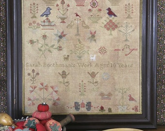 Sarah Boothman 1845 (a Faithfully Reproduced Antique Sampler) : Cross Stitch Pattern by Heartstring Samplery