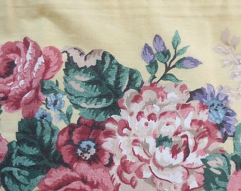 """Pr Dan River Beautiful Floral Pillow cases w Yellow Borders King sz No iron Percale 50% Polyester 50 pct Cotton never used Vintage 19 x 40 """""""