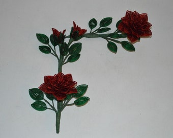 Handmade French Beaded Flowers Home decor corner pieces red roses set