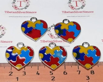 12 pcs per pack 25x22mm Imperfect Enamel Colorful Puzzle Heart charm for Autism Awareness Antique Silver Finish Lead Free Pewter