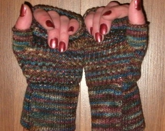 Fingerless Gloves knit from merino, nylon, and stellina sparkle, wrist warmers