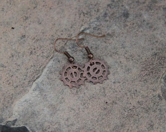 Bike Gear Earrings in Copper-Could be Steampunk or Vintage