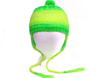Child's Earflap Hat. 2 to 6 Years. Gender Neutral. Warm Wool Blend. Bright Neon Fluorescent Green Aviator Hat. Knit Ear Warmer Bomber Cap