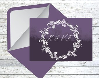 Floral Wreath Ombre Wedding RSVP cards with envelopes x10